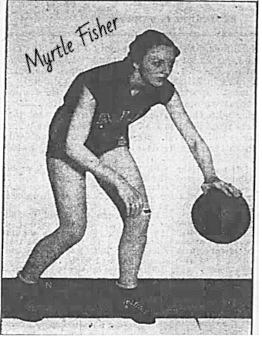 Image of late 30s member oa A.I.B. narnstorming womens team. From DEs Moine, Iowa.. Shown bent over dribbling a basketball. afrom the St. Louis Globe Democrat, Feb. 20, 1938.