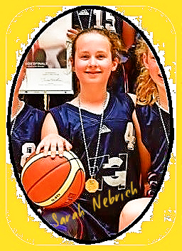 Image of German girls basketball player Sarah Nebrich of the Nordlingen U12 team, 2017-18. Cropped from team picture, kneeling with basketball on right knee in blue uniform #4.
