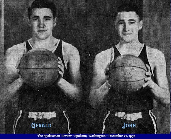 Image of basketball playing twins for Tonasket High School, State of Washington, 1952-53. Gerald Oakes on left, John Oakes on right, both facing camera, holding basketballs in front of them. From The Spokesman-Review, Spokane, Washington, December 21, 1952.