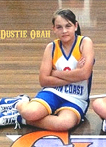 Picture of Dustie Obah, Under 12 girl basketball player Sunshine Coast Rip, 2011-12. Cropped from team photo.