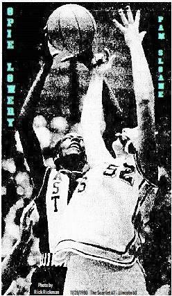 Image from The Des Moines Register Peach, Des Moines, Iowa, Nov. 29, 1980 of Iowa girls basketball player, Opie Lowery of the East Hi=gh  School Scarlet, shooting over Lincoln High's Pam Sloane, i East High's 67-60 win on 11/28/1980. Photo by Rick Rickman, from The Des Moines Register Peach, Des Moine, Iowa, 11/29/1980.