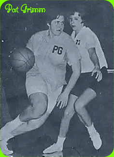 Image of girls basketball player, Pat Grimm, Center Grove High School, Indiana, mid-11960s. Action shot, dribbling ball around defender. Photo: Indiana Basketball Hall of Fame.