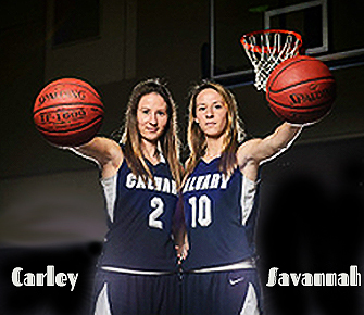 Image of the Plentovich twins, Calvary Christian Academy (Clearwater, Florida), Carley (#2) and Savannah (#10), in front of basket, both holding a basketball towards camera.