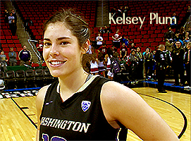 Image of Kelsey Plum, NCAA Division I women career scoring record holder, University of Washington Huskies, #10, posing in black uniform.