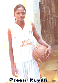 Image of Preeti Kumari, Uttar Pradesh girls basketball Pocket Dynamo, with basketball