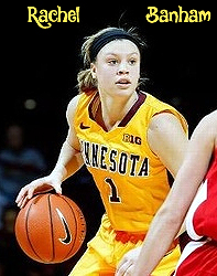 Rachel BAnham, with basketball, University of Minnesota women's basketball player, in yellow uniform, #1.