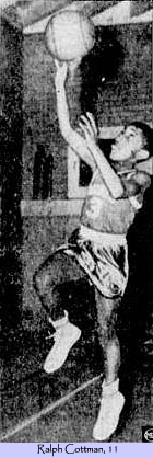 Picture of 11-year old Ralph Cottman, Norristown YMCA (Pennsylvania) basketball player, going up for a lay-up, in a Biddy Basketball game. From The Altus Times-Democrat, Altus, North Carolina, April 21, 1953.