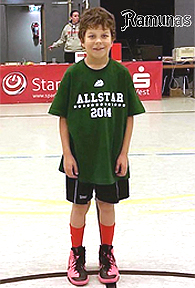 Ramunas Pupkeviciute, 9-year old basketball player for Herner TC U12 open team. Standing