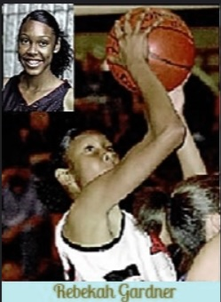 Imagres of Rebekah Gardner, California girls basketball player, in 2006, for Ayala High in Chino Hills. Shooting for a basket, photo by Josh Thompson, from the Chino Hills Champion, Chino, Cal., March 8, 2008. Portrait from the Varsity Times Insider, Dec. 24, 2007.