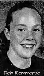Portrait image of Deb Remmerde, Rock Vally High (Iowa) girls basketball playe. From the Sioux City Journal, Jan. 5, 2003.