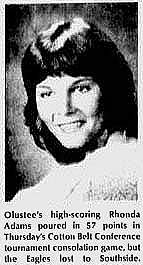 Image of Rhonda Adums, Olustee basketball player, from The Altus Times, Altus, Oklahoma, January 25, 1985. Text: Olustee's high=scoring Rhonda Adams poured in 57 points in Thursday's Cotton Belt Conference tournament consolation game, but the Eagles lost to Southside.