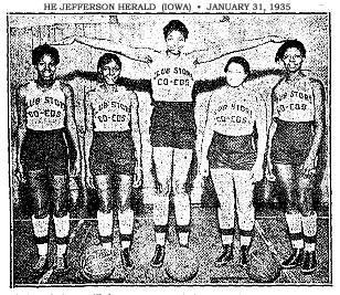 Picture of Helen Smith of the Roamers Girls basketball team, arms extended, in uniform, with two teammates on either side below her outstretched arms. From The Jefferson Herald, Jefferson, Iowaa, January 31, 1935