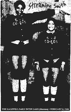 Image of 7-foot tall Helen (Streamline) Smith, basketball player for the Roamer girls basketball team. She has arms wide like an airplan with a teammate standing beside and under her. From The Kalispell Daily Inter Lake, Kalispel, Montana, Debruary 4, 1936.