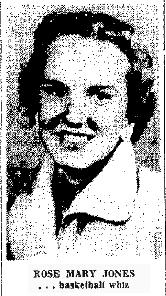 Photo of Rose Mary Jones, Trent High (Texas) basketball player. From The Abilene Reporter-News, December 11, 1956.