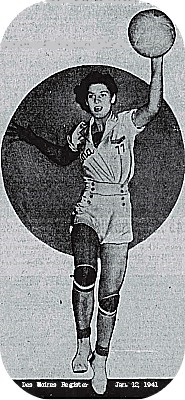 Image from the Des Moines Register, Jan. 12, 1941, of Margaret Rowan, Numa High School girls basketball player in Iowa. Coming towards us, in air shooting a layup.