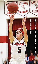 Image of Elle Ruffridge, Pochahontas Area high School basketball player, shooting a jump shot in her white INDIANS, number 5 uniform.