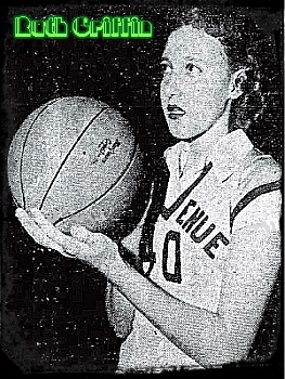 Image of Ruth Griffin from the Rocky Mount Telegram, Rocky Mount, North Carolina, December 8, 1950, showing North Carolina girls basketball player, Ruth Griffin of the Benvenue High School team, holding a ball, preparing to shoot.