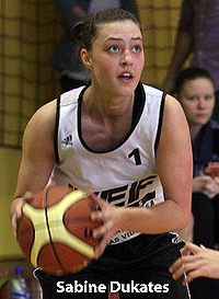 Image of Sabine Dukates, Riga Natalia Draudzina Secondary School (RNDV) basketball player, looking to shoot the ball.