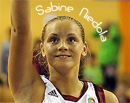 Sabine Niedola, Latvian Women's Professional basketball player for Liepajas Metalurgs, gauging her foul shot.