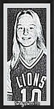 Image of Sally Smith, girls basketball player for Westminster Academy in early 1980s. Picture of her posing in #10 LIONS uniform is from the Fort Lauderdale News, Fort Lauderdale, Florida, January 27, 1980.