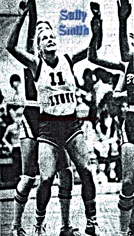 Sally Smith in her 76 pt. game for Westminster Academy, LIONS uniform #11, from the Fort Lauderdale News, Feb. 11, 1981. Staff photo by CXhris Walker.