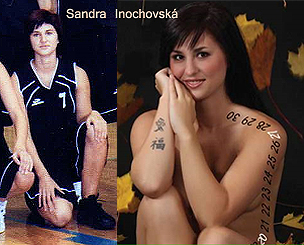 Tow pictures of Sandra Inochovsk�, University of Palacky Olomouc, Cezech Republic. In uniform number 7 from 2006-07, and picture from 2011 team calendar.