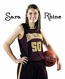 Picture of Sara Rhine, Eldon High School (Missouri) girls basketball player, posing with basketball in uniform with yellow Mustangs name and number 50.