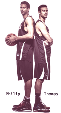 The Scrubb brothers of Carleton University basketball, back to back, Philip on the left, Thomas on the right.