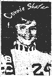 Connie Shafar, Bedford High School basketball player, portrait image in uniform number 24. From the Adams County Free Press, Corning, Iowa, March 12, 1964.