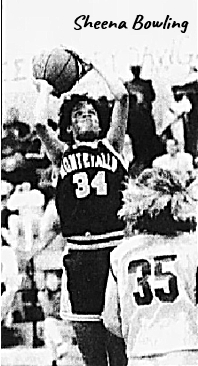 Image of Sheena Bowling, Montevallo College women's basketball player, #34, shooting a jump shot, elbows bent, basketball above her head. From The Tennessean, Nashville, Tenn., November 24, 1992