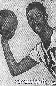 Image of Sherman White, Long Island University men's basketball player, posing with right arm crooked, holding basketball. From The Evening Telegram, Rocky Mount, North Carolina, January 10, 1951