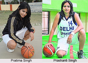 Images of sisters Pratima and Prashanti SIngh, the latter in a Delhi Spartans uniform (#14), both with basketballs.