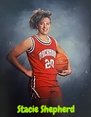 Image of Stacie Shepherd, girls basketball player 1989-90, and Indiana state basketball hall-of-famer. Shown holding basketball in #20 red uniform.