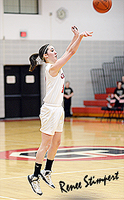 Profile of Renee Stimpert, Crestview Cougar female basketball player, number 3, shooting a jumper in February 2014. From Ashland Times-Gazette web page.