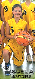 From Rosenheim 3 (U12) team photo: Suela Avdiu, #6, in yellow uniform, kneeling with basketball.