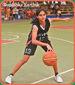 Sunishka Karthik, girls basketball player from Karnataka, India, posing, dribbling basketball for her Under-16 team, in uniform number 13, 2019.