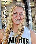 Portrait of Sydney Sharp, girls basketball player for the Foothill High Knights (Santa Ana, California), #24. Long haired blonde.