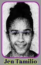 Portrait of Jennifer Tamilio, Massachusetts girls basketball player for Salem High School. From The Boston Globe, February 27, 2003..