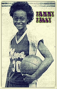 Image of Tammy Terry, holding basketball and posing for camera. Terry was 1980 senior for the Nova High School (Florida) girls basketball player, #30 with script Nova, from the Fort Lauderdale News, February 8, 1980. Staff photo by Ursula SAeemann.