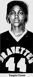 Picture of TAngela Turner, Bravette basketball player for Scott County Central High School, Sikeston, Missouri. From The Southeast Missourian, Cape Girardeau, Missori, January 23, 1986.