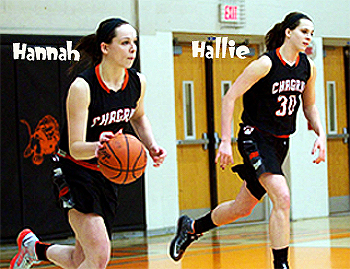 Hannah (#21) and Hallie Thome (#30), twin sisters on the Chagrin Falls, Ohio basketball team, in black Chagrin uniforms, running upcourt, Hannah with basketball.