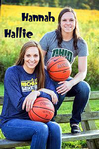 Twin Sisters Hallie and Hannah Thome, Chagrin Falls (Ohio) basketball players, sitting on a bench, with basketballs. Each with sweatshirt of future college, Hallie to Michigan, Hannah to Ohio University.