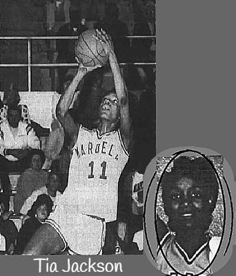 Images of Tia Jackson, Mardela Springs High School girls basketball player. Two image collage. Portrait from The Daily Times, Salisbury, Maryland, May 8, 1990 and picture of her shooting a jump shot to our left, face on, in white MARDELLA uniform #11, from The Daily Times, Salisbury, Md., March 4, 1990, photo by Todd Dedek.