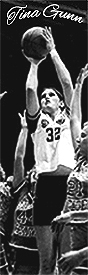 Tina Gunn, BYU women's basketball player in the AIAW era, #32, shooting a jump shot.