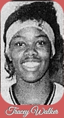 Portrait image of Florida girls basketball player, Tracey Walker, Quincy Shanks High School, 1988. From the Tallahassee Democrat, Tallahassee, Florida, Feb. 18, 1988.