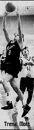 Image of Trena Mott, girls high school basketball player for Miller Collegiate, number 8, shooting a lay-up. From the Feb. 29, 1992 The Leader Post, Regina, Saskatchewan, Canada. Photo by Bryan Schlosser.
