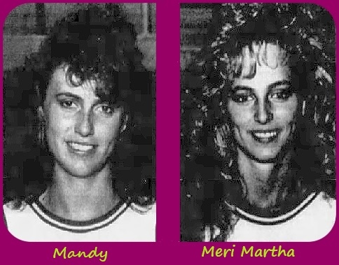 Black and white portrait images of Mandy Cunningham and her sister Meri Martha Cunningham, from The Vincennes Sun-Commersial, Vincennes, Indiana, March 25, 1990.