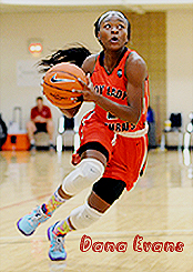 Image of Dana Evans, girls basketball player on Gary West Side, Indiana, with basketball, in action while on team in summer league, 2016. In red uniform going in for a shot.