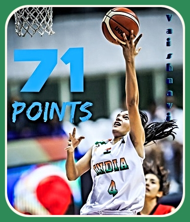 Image of Indian girls basketball player Vaishnavi Yadav while playing for the U-16 India national team. Scored 71 points in the National Junior Championship quarterfinals for Uttar Pradesh. Shown going up for a layup.