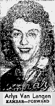 Picture of Arlys Van Langen, Kamrar High School (Iowa) basketball player, 1946-47 season. From The News, Mt. Pleasant, Iowa, March 17, 1947, when chosen 2nd team All-State.